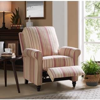 Copper Grove Lassen Pink Stripe Push Back Recliner Chair