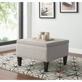 Handy Living Courtney Dove Grey Linen Storage Ottoman - Thumbnail 0