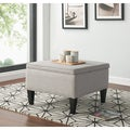 Handy Living Courtney Dove Grey Linen Storage Ottoman