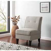 Handy Living Courtney Dove Grey Linen Armless Chair