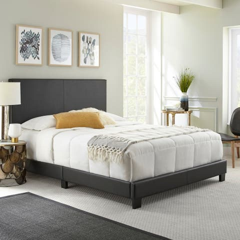 Sleep Sync Zander Padded Upholstered Leather Bed 4 colors