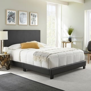 Sleep Sync Zander Padded Upholstered Leather Platform Bed (3 Color Options)