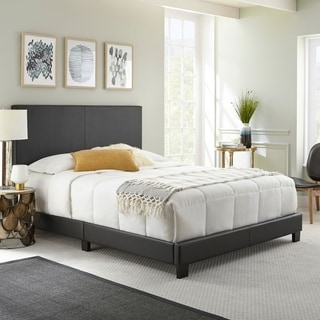 Sleep Sync Zander Padded Upholstered Leather Platform Bed 3 colors