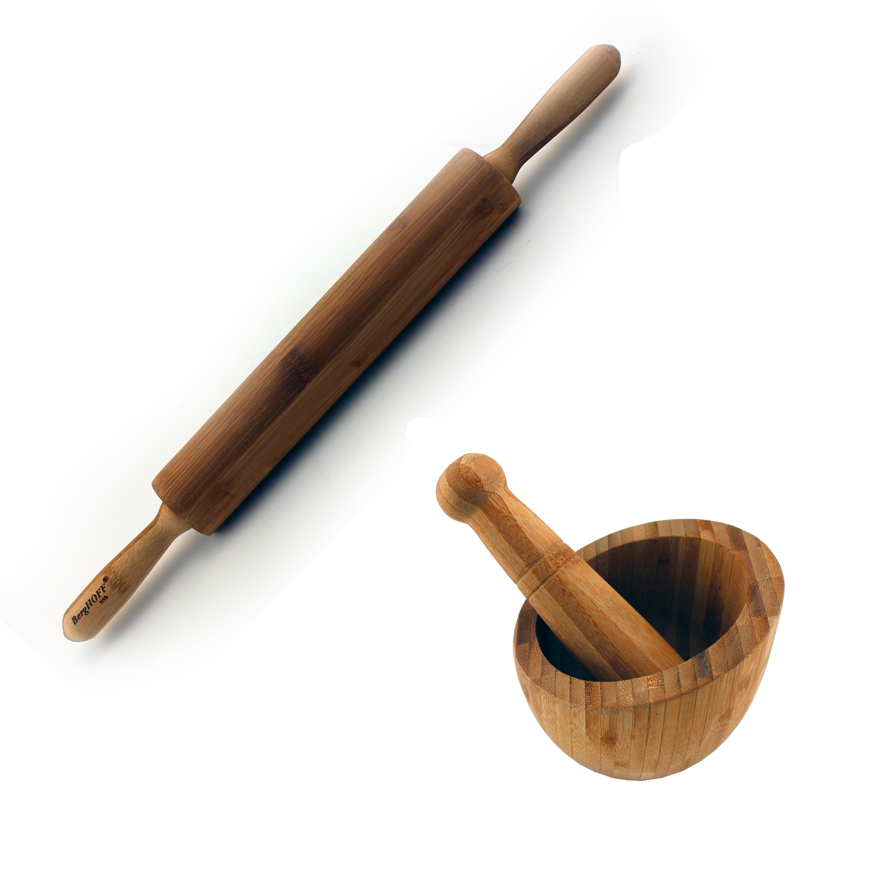 Bamboo 2pc Prep set with Rolling Pin & Garlic Bowl, Beige...