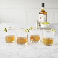 Old Fashioned 11 oz. Gold Rim Whiskey Glass - Set of 4