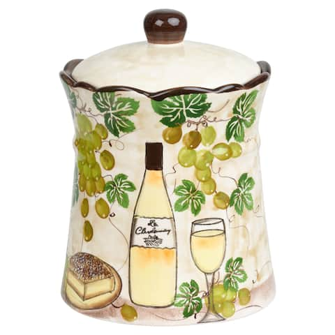 "White Grape Ceramic Cookie jar - 6.5""d x 9""h"