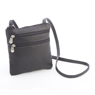 Royce Leather Colombian Leather Double Zip Crossbody Bag