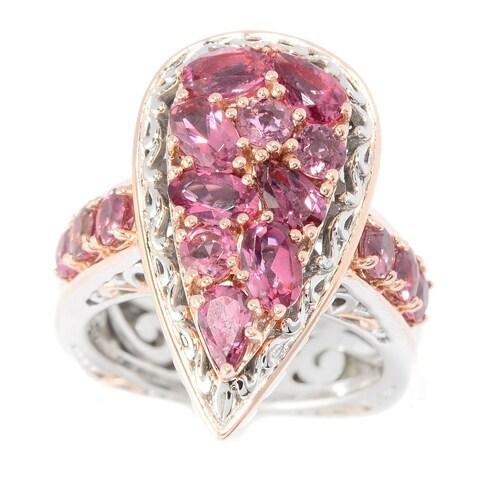 Michael Valitutti Palladium Silver Pink Tourmaline Cluster Pear Shaped Ring