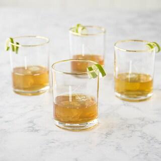 Personalized 11 oz. Gold Rim Whiskey Glass - Set of 4