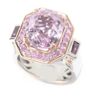 Michael Valitutti Palladium Silver Kunzite, Rhodolite & Pink Sapphire Halo Ring