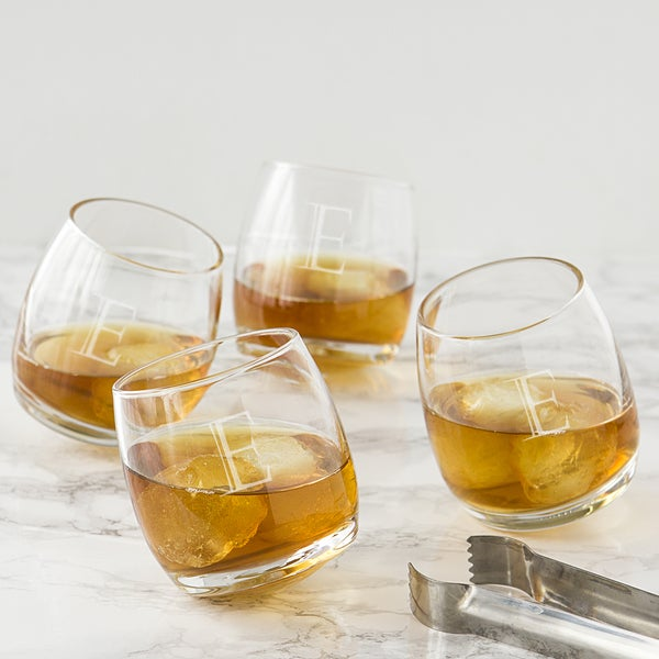 Personalized 7 oz. Tipsy Whiskey Glass - Set of 4