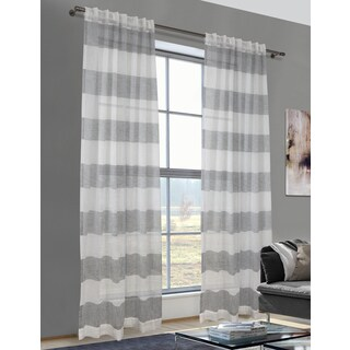 Lite Out Cabana Linen Striped Sheer Curtain Panel Pair