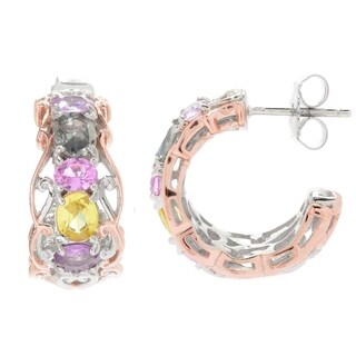 Michael Valitutti Palladium Silver Multi Color Pastel Sapphire Hoop Earrings