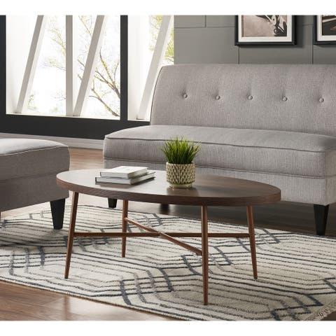 Handy Living Miami Brown Oval Coffee Table with Brown Metal Legs