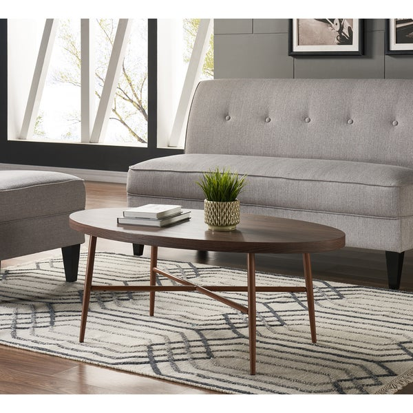 Oval Coffee Table With Metal Legs: Shop Handy Living Miami Brown Oval Coffee Table With Brown