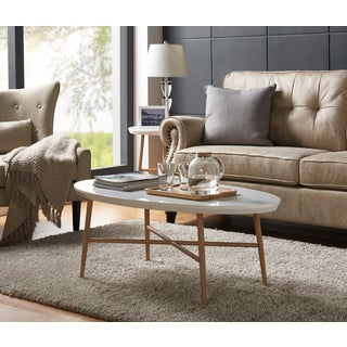 Handy Living Miami White Oval Coffee Table with Light Oak Metal Legs