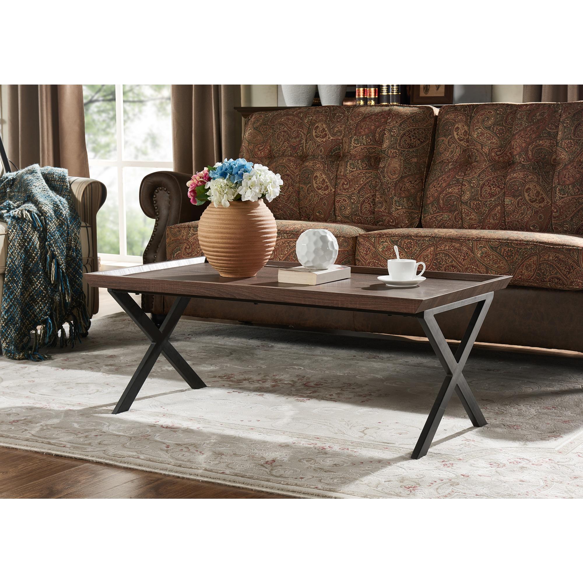 Awesome Handy Living Miller Dark Brown Oak Rectangular Coffee Table With Black Metal Legs Theyellowbook Wood Chair Design Ideas Theyellowbookinfo