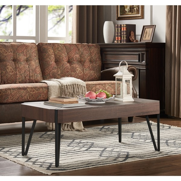 Coffee Table Legs Brown: Shop Handy Living Dawn Dark Brown Oak Rectangular Coffee