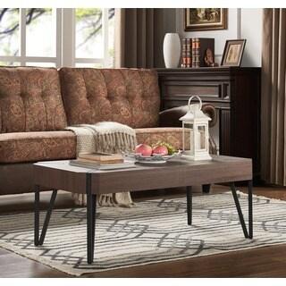 Handy Living Dawn Dark Brown Oak Rectangular Coffee Table with Black Metal Legs