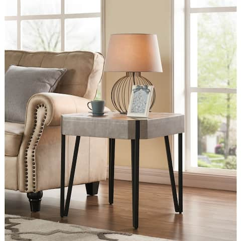Handy Living Dawn Concrete Grey Square End Table with Black Metal Legs
