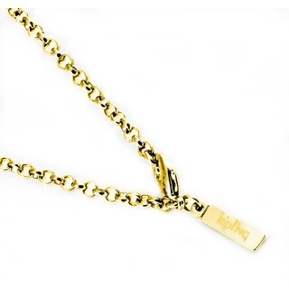 Kipling Stainless Steel Gold Cable Chain Necklace 3 MM, 36 INCH