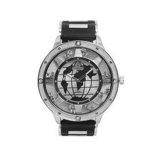 Hip Hop Bling World Map Mens Rubber Band Watch