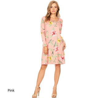 Women's Floral Pattern Dress with Crossed Strap Detail