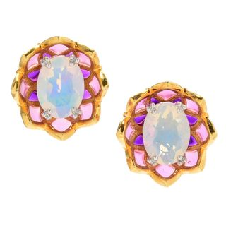 Michael Valitutti Palladium Silver Ethiopian Opal Multi Color Enamel Flower Stud Earrings