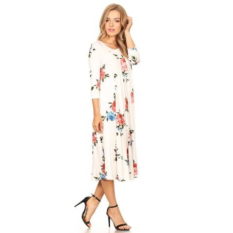Women's White Floral Pattern Dress