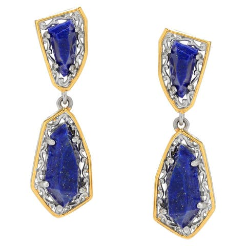 Michael Valitutti Palladium Silver Multi Shape Lapis Lazuli Dangle Earrings