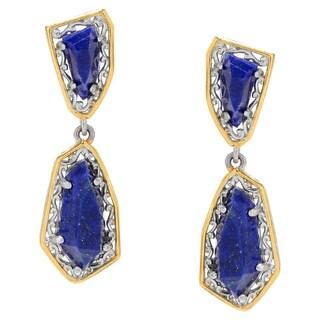 Michael Valitutti Palladium Silver Multi Shape Lapis Lazuli Dangle Earrings