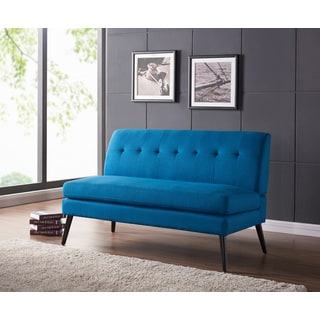Handy Living Kingston Mid Century Modern Peacock Blue Linen Armless Loveseat