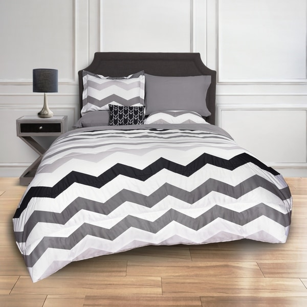 Shop Grey Chevron Bed In A Bag Comforter Set Free