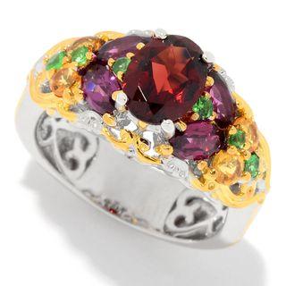 Michael Valitutti Palladium Silver Multi Color Garnet 15-Stone Band Ring