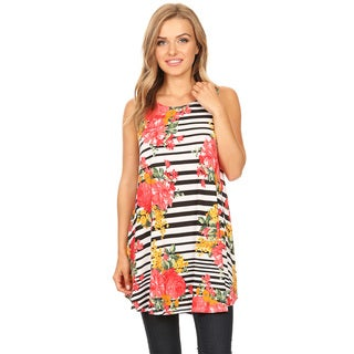 Women's Sleeveless Striped Floral Pattern Top