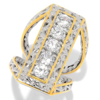 Michael Valitutti Palladium Silver White Zircon Elongated Split Shank Ring