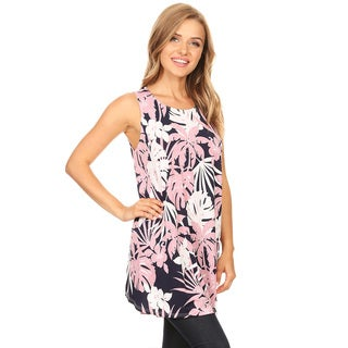 Women's Sleeveless Botanical Pattern Top