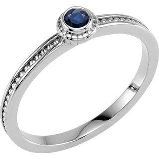 Auriya 10K Gold 1/10ct TDW Blue Sapphire Gemstone beaded Solitaire Stackable Ring