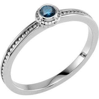 Auriya 10K Gold 1/10ct TDW Stackable Blue Diamond Solitaire Ring