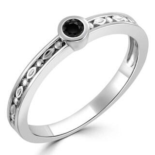 Auriya 10K Gold 1/10ct TDW Black Diamond Bezel Carved Stackable Ring