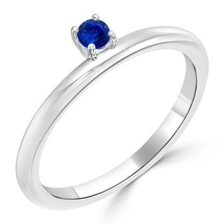 10K Gold 1/10ct TDW Petite Off-set Solitaire Blue Sapphire Stackable Ring By Auriya