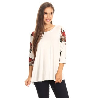 Women's Floral Sleeve White Solid Top
