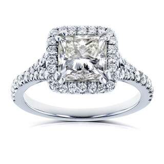 Annello by Kobelli Certified 18k White Gold 2 4/5ct TDW Princess Diamond Halo Engagement Ring