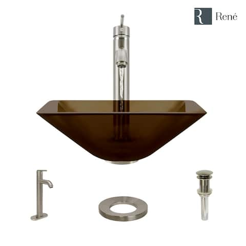 R5-5003-CAS-R9-7001 Cashmere Colored Glass Vessel Sink with Faucet, Sink Ring, and Pop-Up Drain