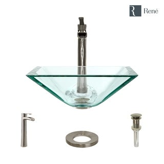 Rene By Elkay R5-5003-CRY-R9-7007 Crystal Glass Vessel Sink with Faucet, Sink Ring, and Pop-Up Drain (Option: Nickel Finish)