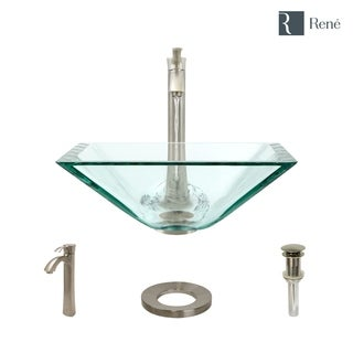Rene By Elkay R5-5003-CRY-R9-7006 Crystal Glass Vessel Sink with Faucet, Sink Ring, and Pop-Up Drain