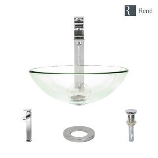 Rene By Elkay R5-5001-CRY-R9-7003 Crystal Glass Vessel Sink with Faucet, Sink Ring, and Pop-Up Drain