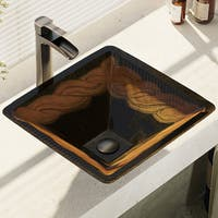 R5-5036-R9-7007 Foil Undertone Glass Vessel Sink with Faucet, Sink Ring, and Pop-Up Drain