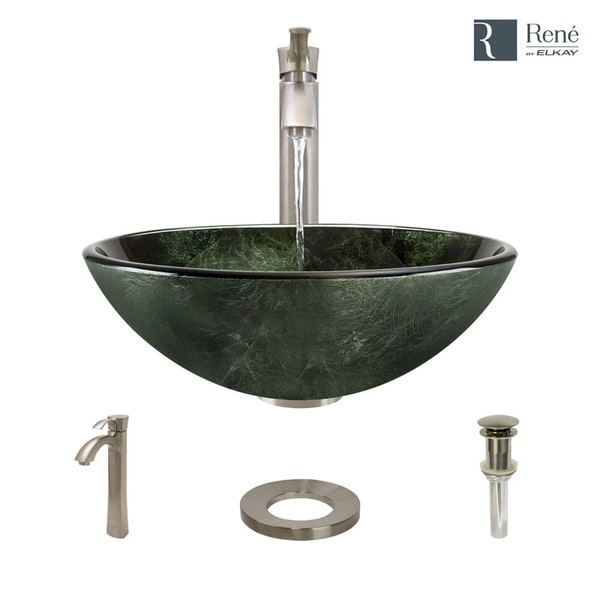 Shop r5 5027 r9 7006 forest green glass vessel bathroom - Green glass vessel bathroom sinks ...