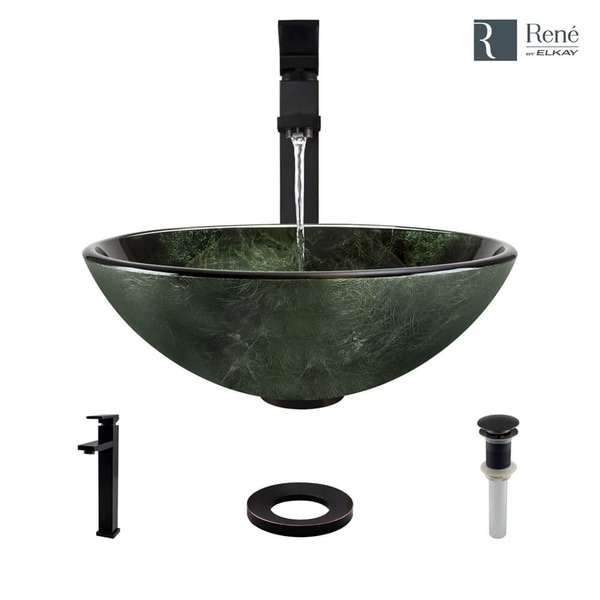 Shop R5 5027 R9 7003 Forest Green Glass Vessel Bathroom Sink With Faucet Sink Ring And Pop Up